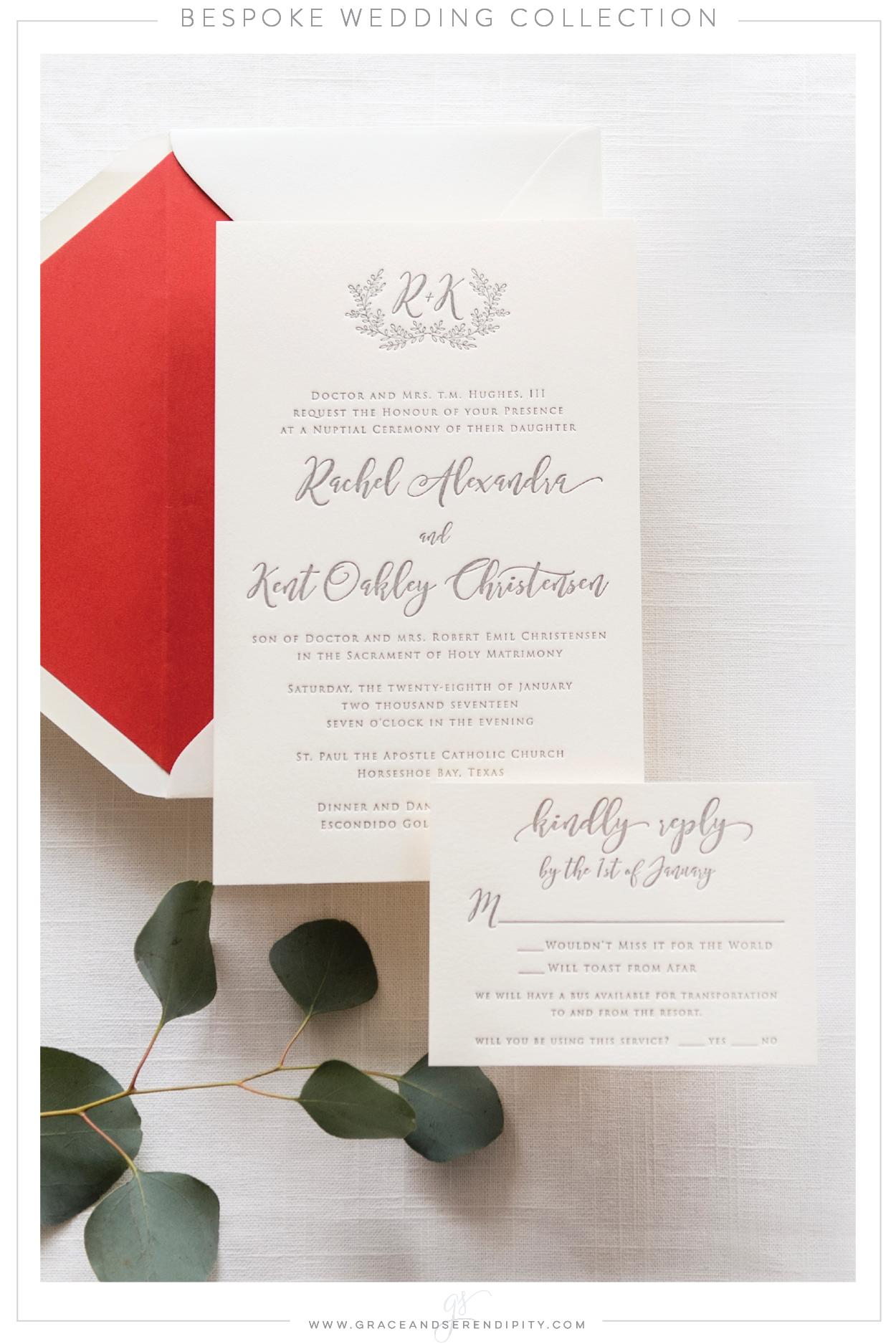 Custom Letterpress Wedding Invitation by Grace and Serendipity ...