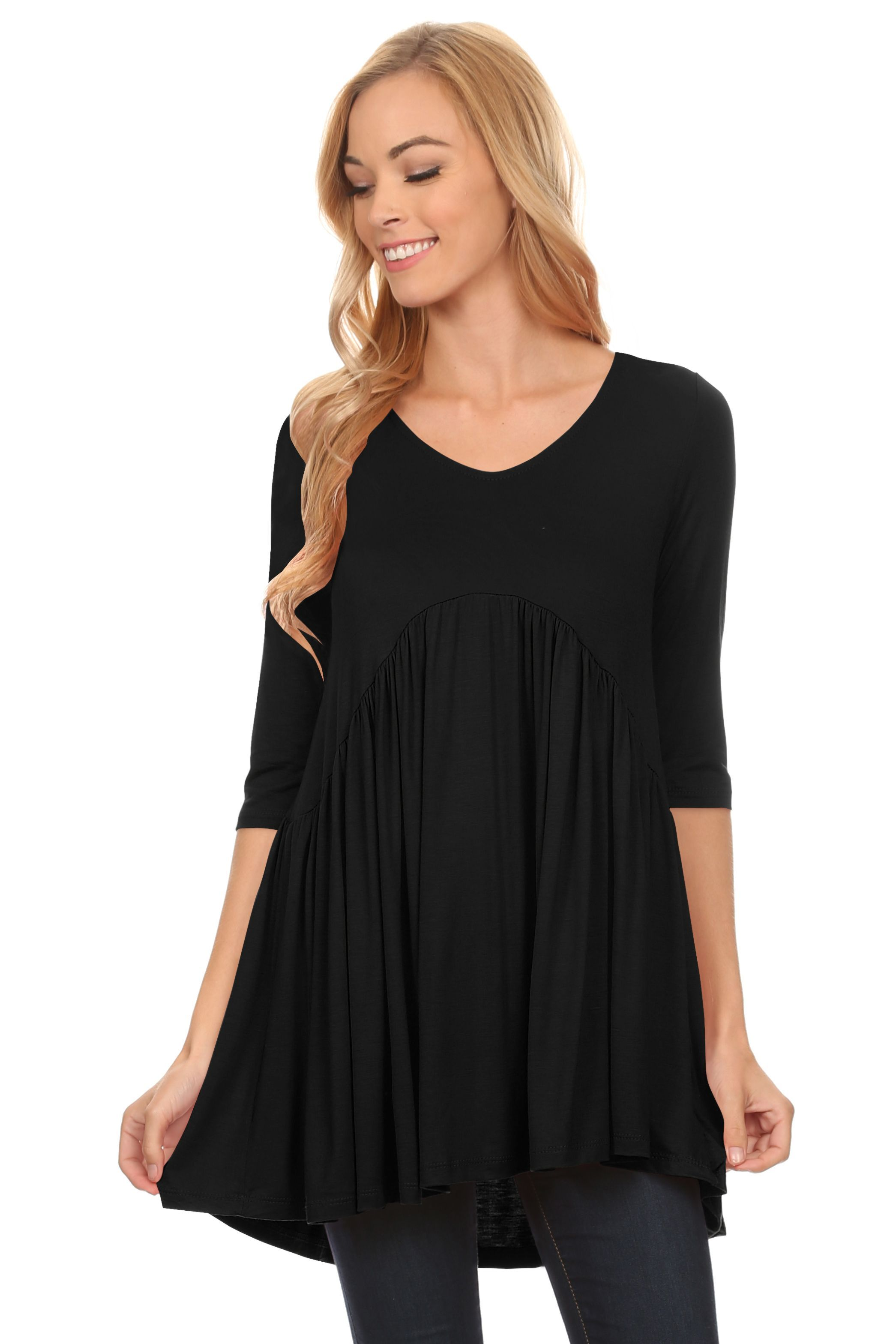 Simlu tunic top mini dress with sleeves long tunic tops for women