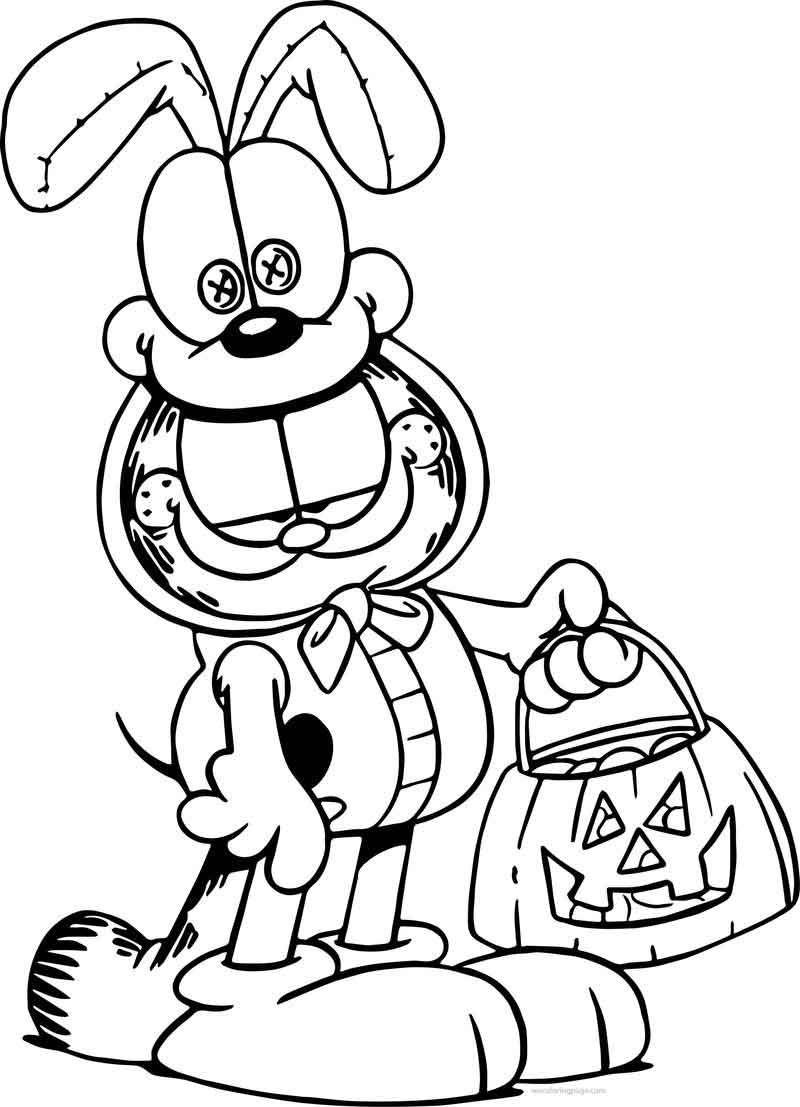 Halloween Garfield Coloring Page Kartun Gambar Gambar Kartun