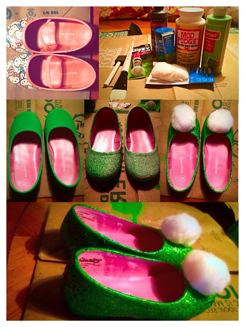 Beautiful Homemade Tinkerbell Shoes Mod Podge Mint Green Acrylic Paint Glitter Regular Extra Fine Color Kiwi Paintbrush New