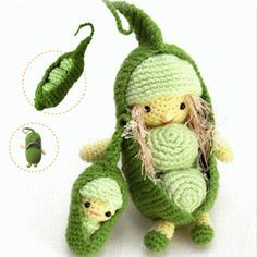 crocheted green pies
