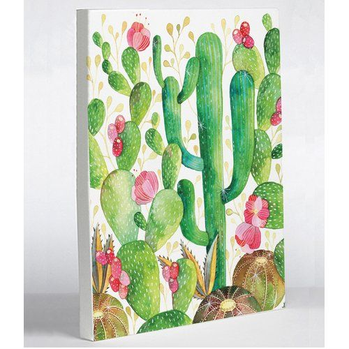 Cactus By Ana Victoria Calderon Graphic Art On Wrapped Canvas Cactus Painting Canvas Wall Decor Painting Prints