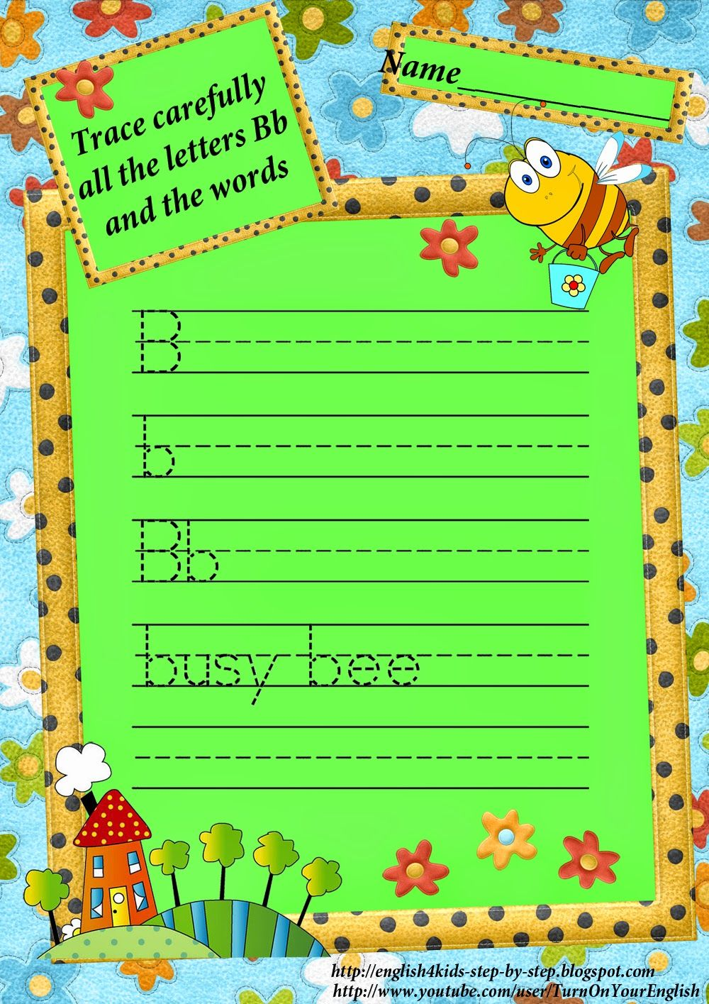 Letter B Tracing Worksheet Song Teach English To Kids Learn
