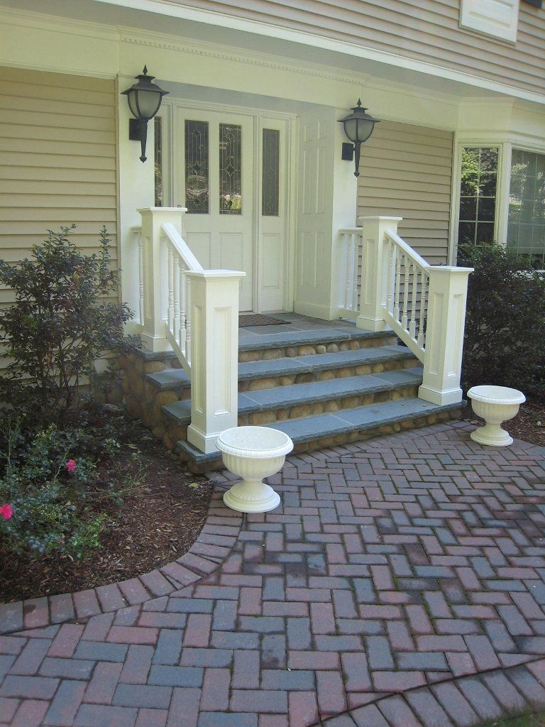 Back Stoop Idea To Replace Our Deck Also Love The Brick