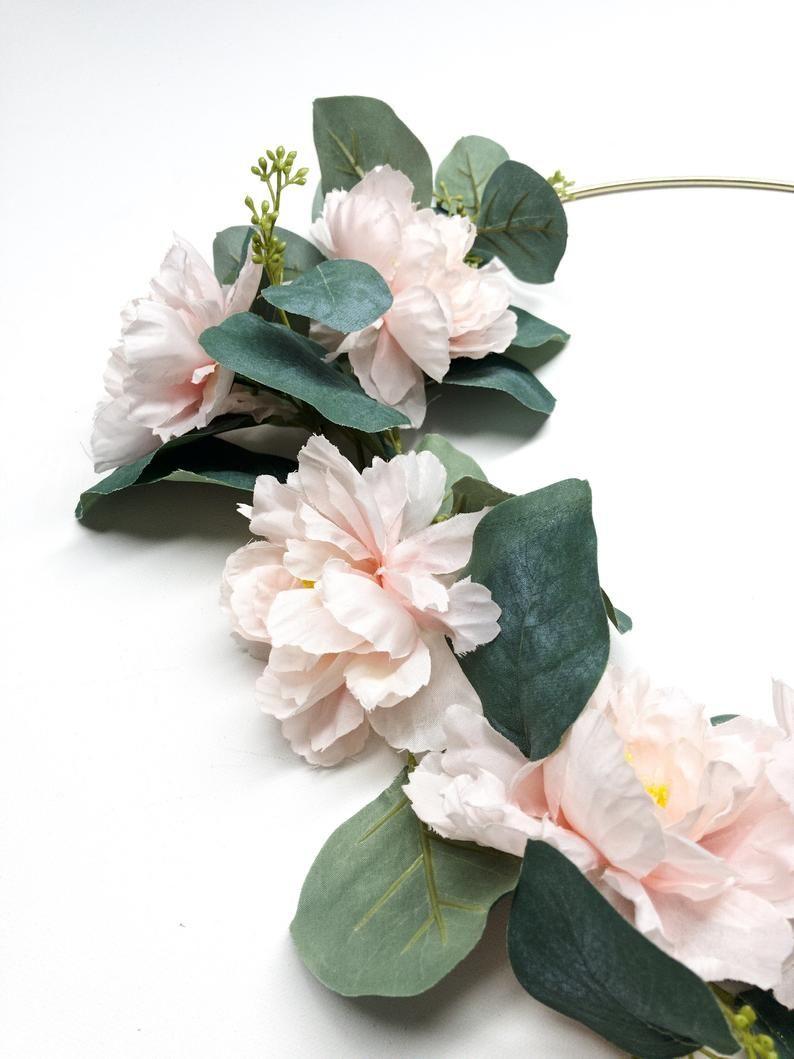 Photo of Pink Eucalyptus Wreath, # 101, Green, Spring, Hoop Ring, Light Pink, Simple, Seed Eucalyptus, Wall, Modern, Summer, Indoor, Rose, Peony