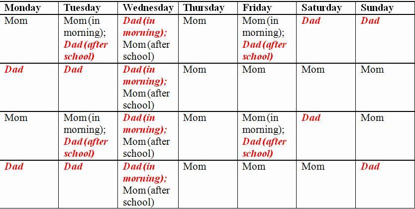 Child Custody Calendar Template Fresh Child Custody And Parenting Time Schedule Template Child Custody Holiday Schedule