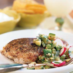 Superfast Chicken Recipes   Seared Chicken with Tomatillo-Avocado Salsa   CookingLight.com