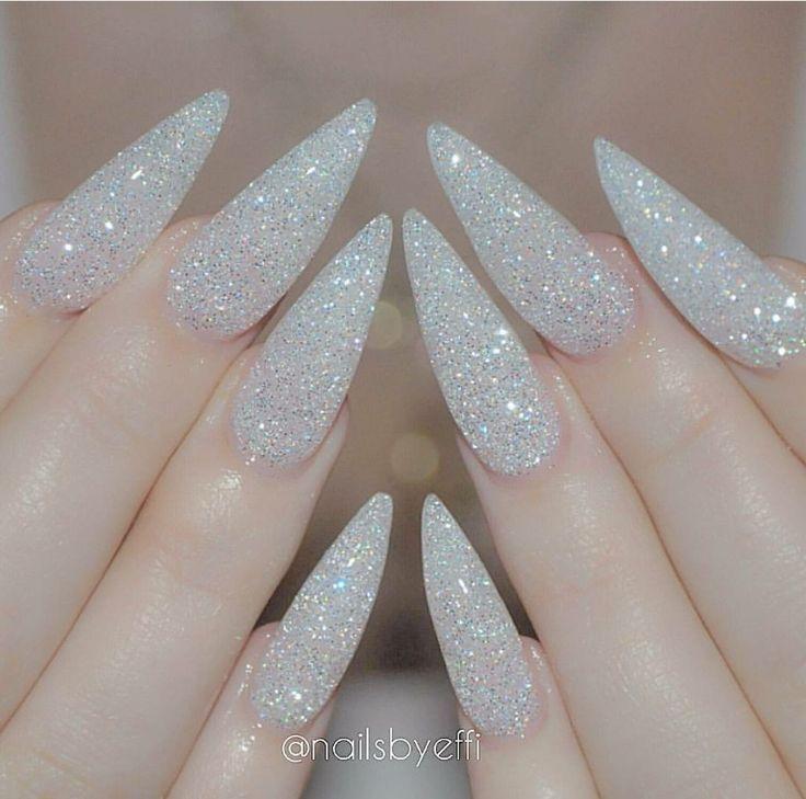 White Glitter Stiletto Nails Diamond Nails Wedding Stiletto