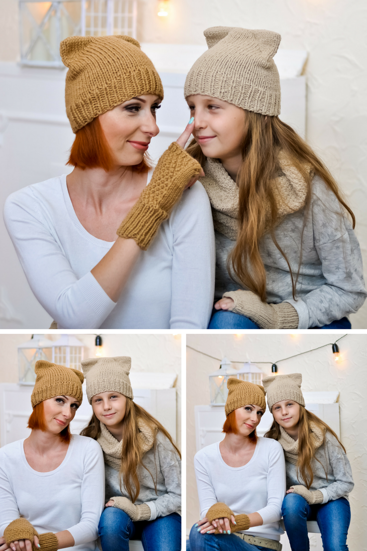 Mother daughter gift set Mom and me beanie Knit cat hat Toddler beanie  Matching beanies Knit hats women Family look Mother daughter look   knit cat hat ... 2a11c25a724