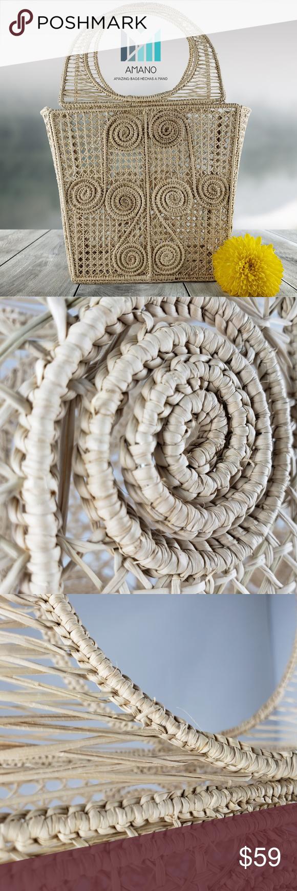 handmade in Colombia BLUE IRACA PALM basket bag Iraca palm handbag