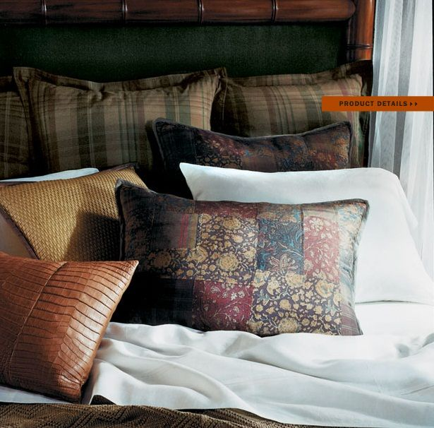 """Ralph Lauren Home Archives, """"Cape Lodge"""", Bedroom detail, 2008; """"Inspired by an exotic estate with echoes of safari, a warm earth-toned palette weaves together colonial, campaign and Moderne furnishings in mahogany, rattan and tent canvas with vachetta leather, madras and brass."""""""