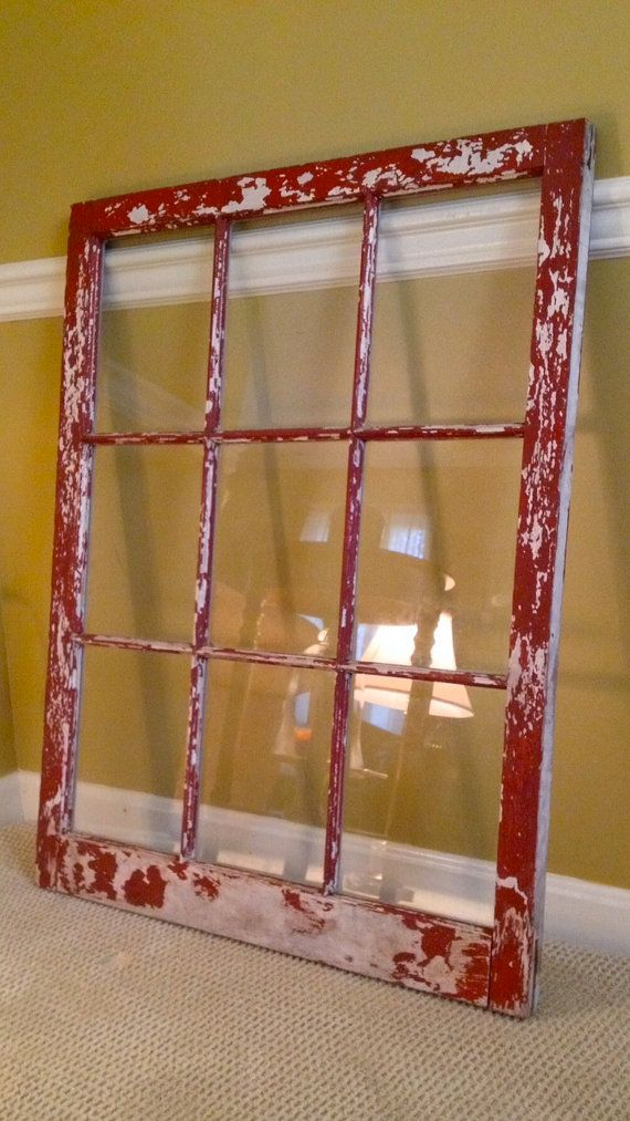 Rustic Red 9 Pane Window Frame On Etsy 100 00 Rustic Wedding Display For Pictures Seating Or Menu Www Asis Window Frame Picture Rustic Window Window Frame