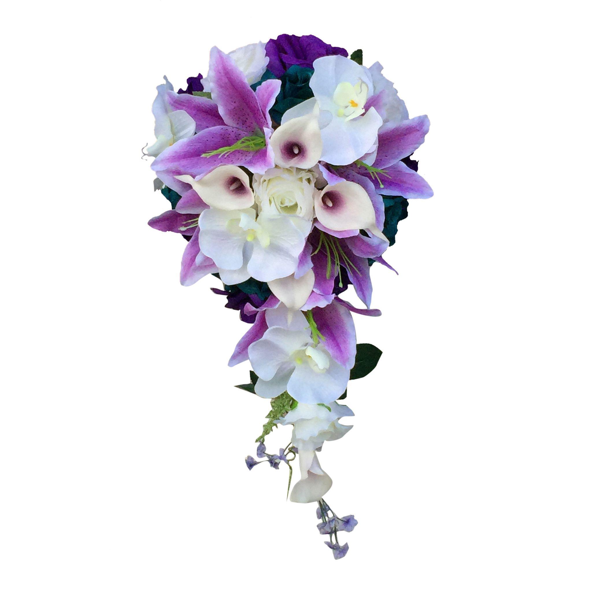 Cascade Bouquet and boutonniere set-Purple,Lavender,Teal roses,calla ...