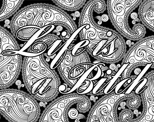 Coloring Pages Quotes For Adults : Adult coloring page the swearing words u clife is a b tchu d doodles