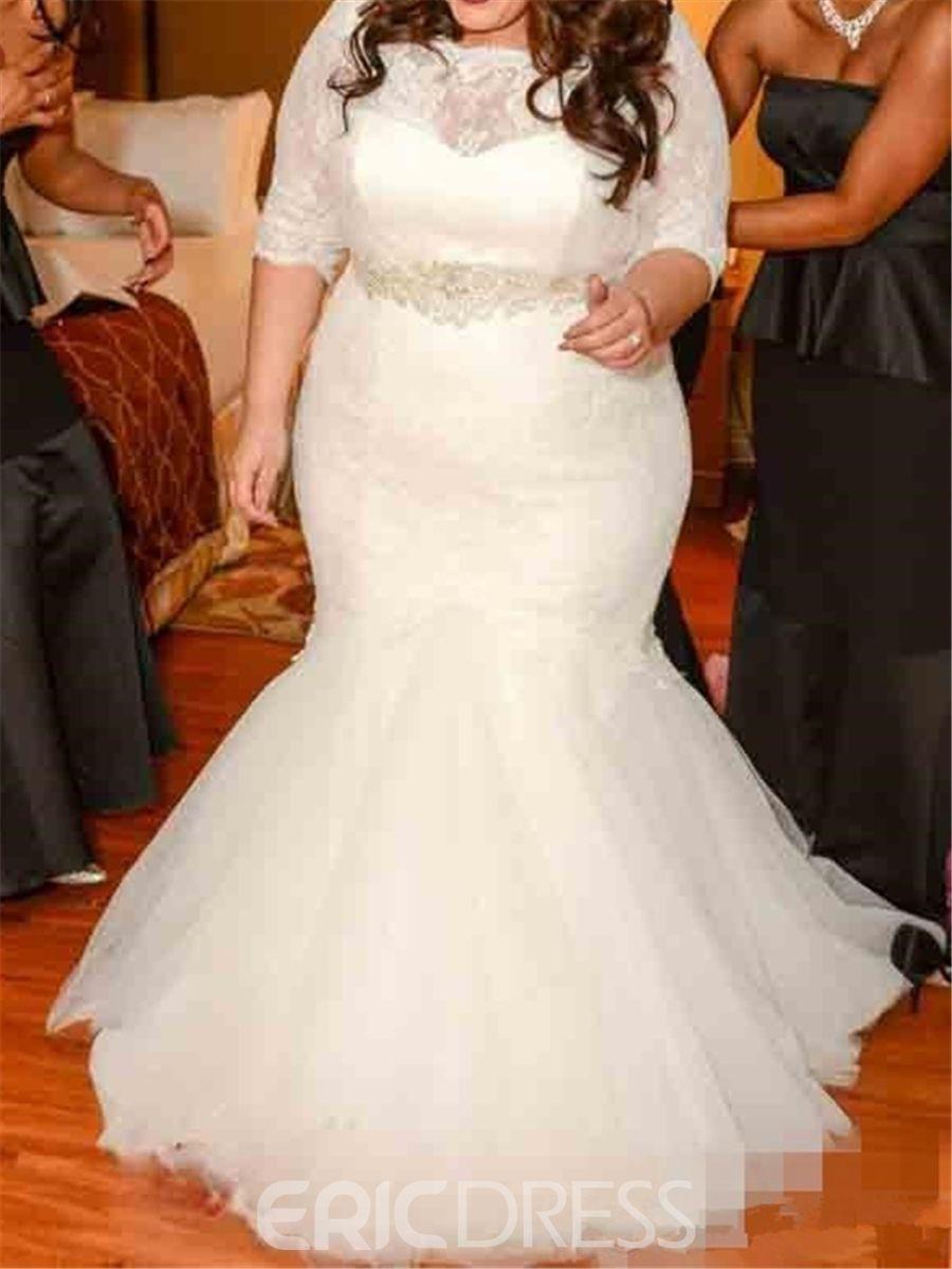 Ericdresss half sleeve lace mermaid plus size wedding