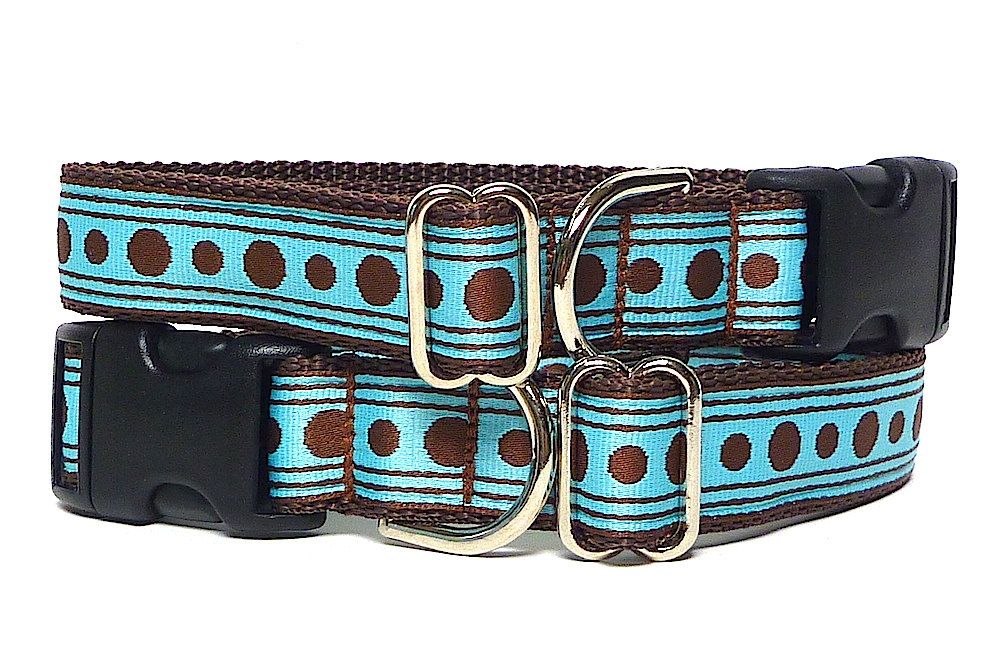 """1"""" wide Dog Tag Collar Blue and Brown POLKA DOTS by"""