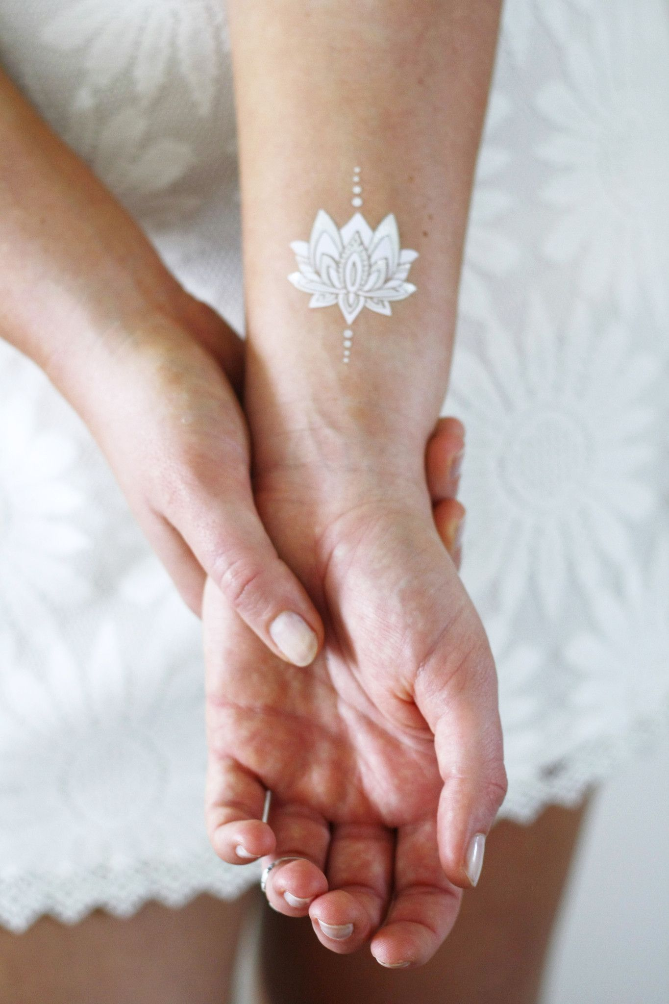 Silver and white lotus temporary tattoos Butterfly