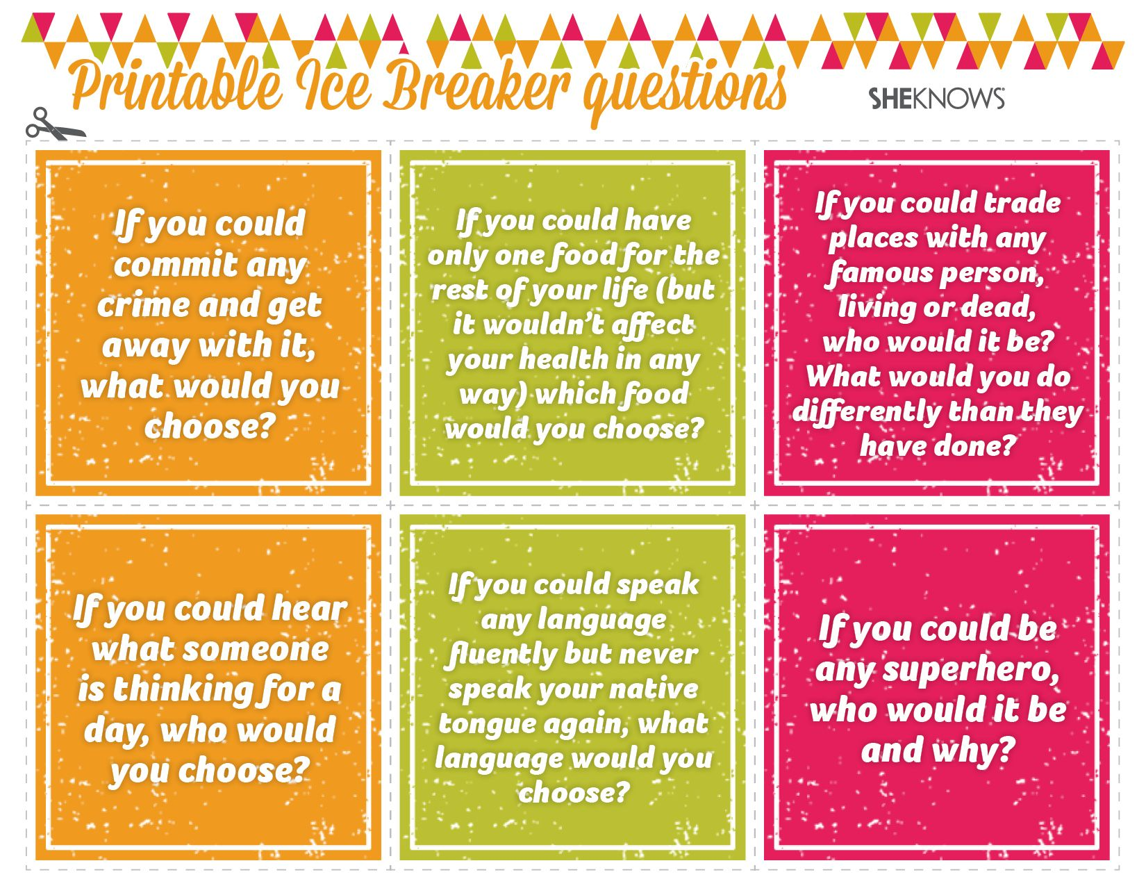 good dating icebreaker questions When you enter a new workplace, it can sometimes be difficult to break the ice the following collection of good ice breaker questions can be utilized anywhere from work to the store, and home practicing some of your favorites on this list will help you retain the information and apply it to your.