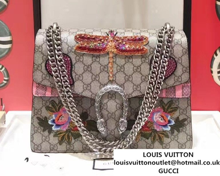 b27351c3c47 Gucci Sequins Dragonfly and Heart Embroidered Dionysus Leather Shoulder  Medium Bag 403348 400235 2017