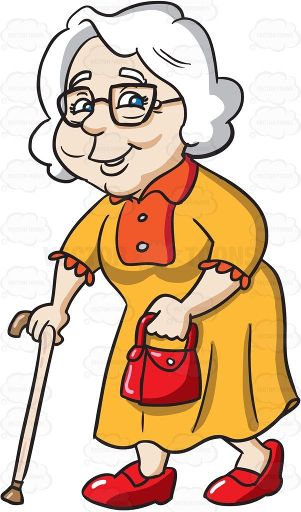 A Chic Female Senior Citizen With A Walking Stick Cartoon Drawings Old Lady Cartoon Drawings