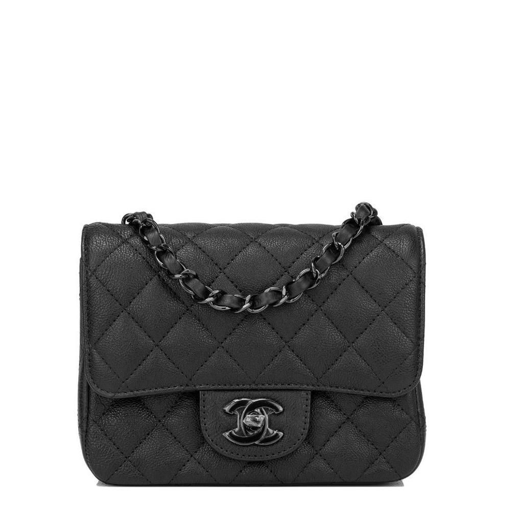 27426bf5f681 Chanel SO Black Crumpled Calfskin Square Mini Classic Flap Bag #CHANEL # ShoulderBag