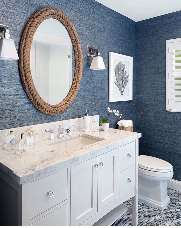 Coastal Bathrooms · Seas Gras Wall Covering, Rope Mirror