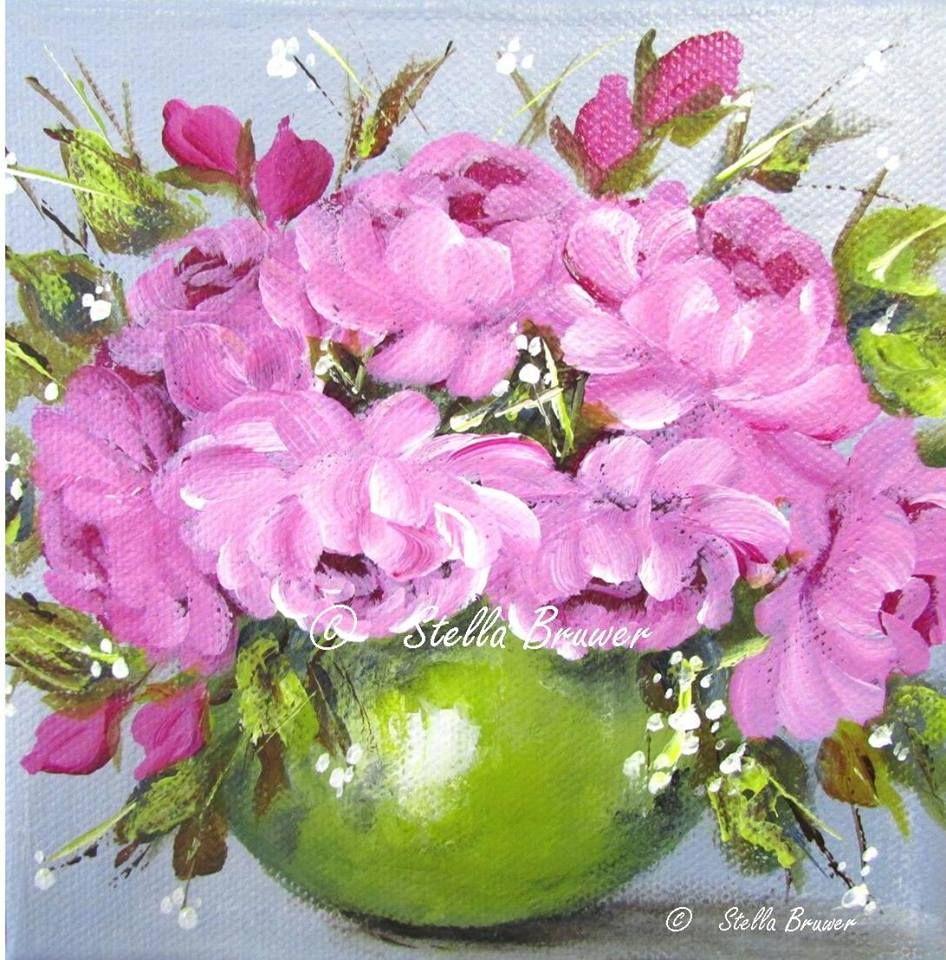 Stella Bruwer Round Green Bowl Of Pink Flowers Art After