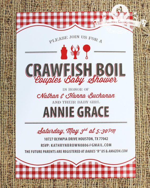Crawfish Boil Baby Shower Invitation Party Pinterest Baby