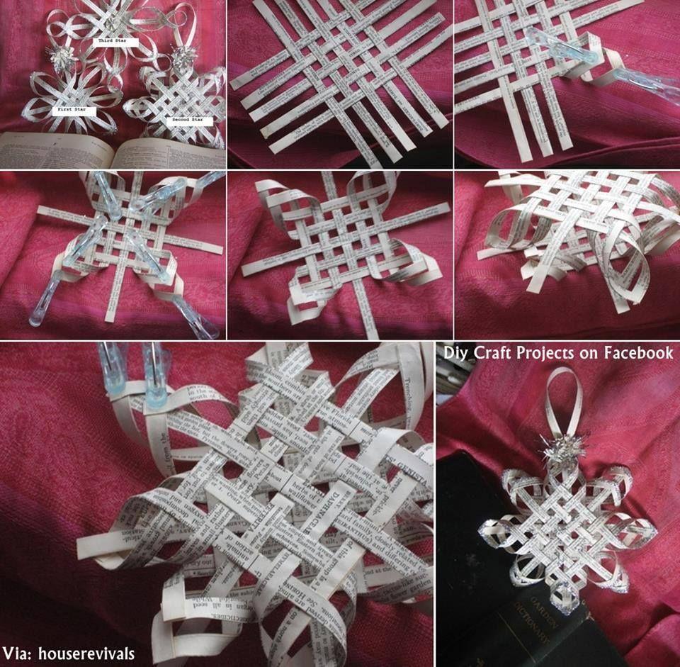 Flocos de neve feitos com tiras de jornal.