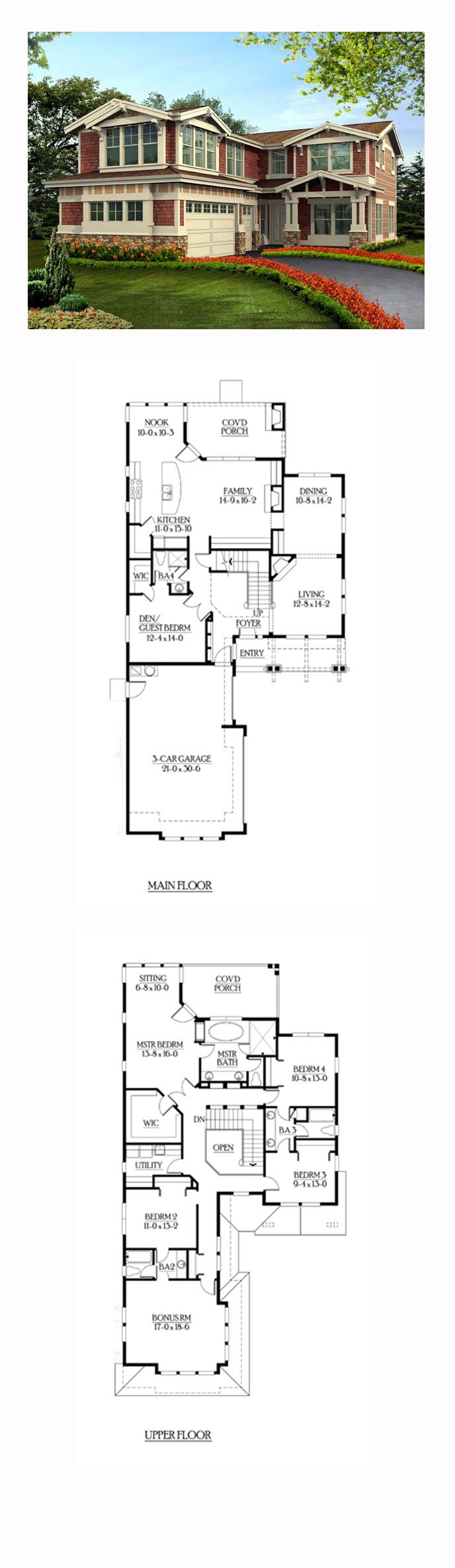 Shingle style cool house plan id chp 39816 total living for 5 bedroom house plans with bonus room