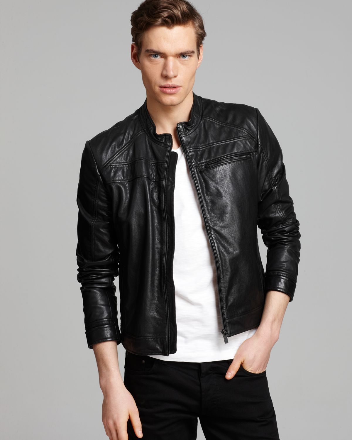 Hugo Boss Hugo Larsson Moto Leather Jacket in Black for