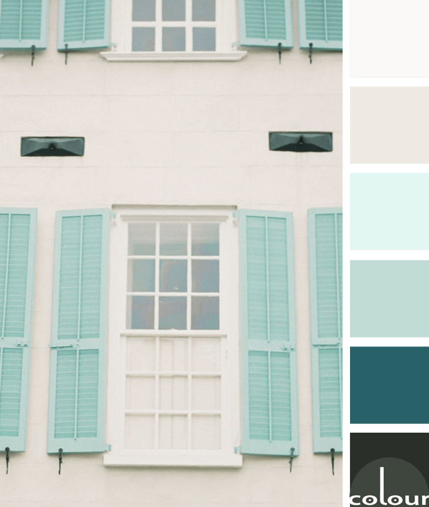 Tranquil Vision Concepts And Colorways Green Shutters Duck Egg Blue Colour Palette Blue Color Pallet