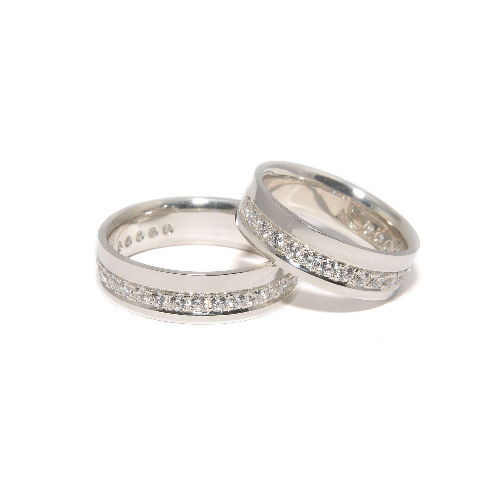 eeea0a7c5552 Обручальные кольца Родированное белое золото 585 пробы, бриллианты Ширина –  7мм, вес женского –