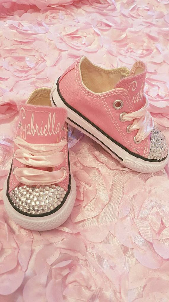 Check out this item in my Etsy shop https://www.etsy.com/listing/508022075/personalized-pink-converse-with-gems