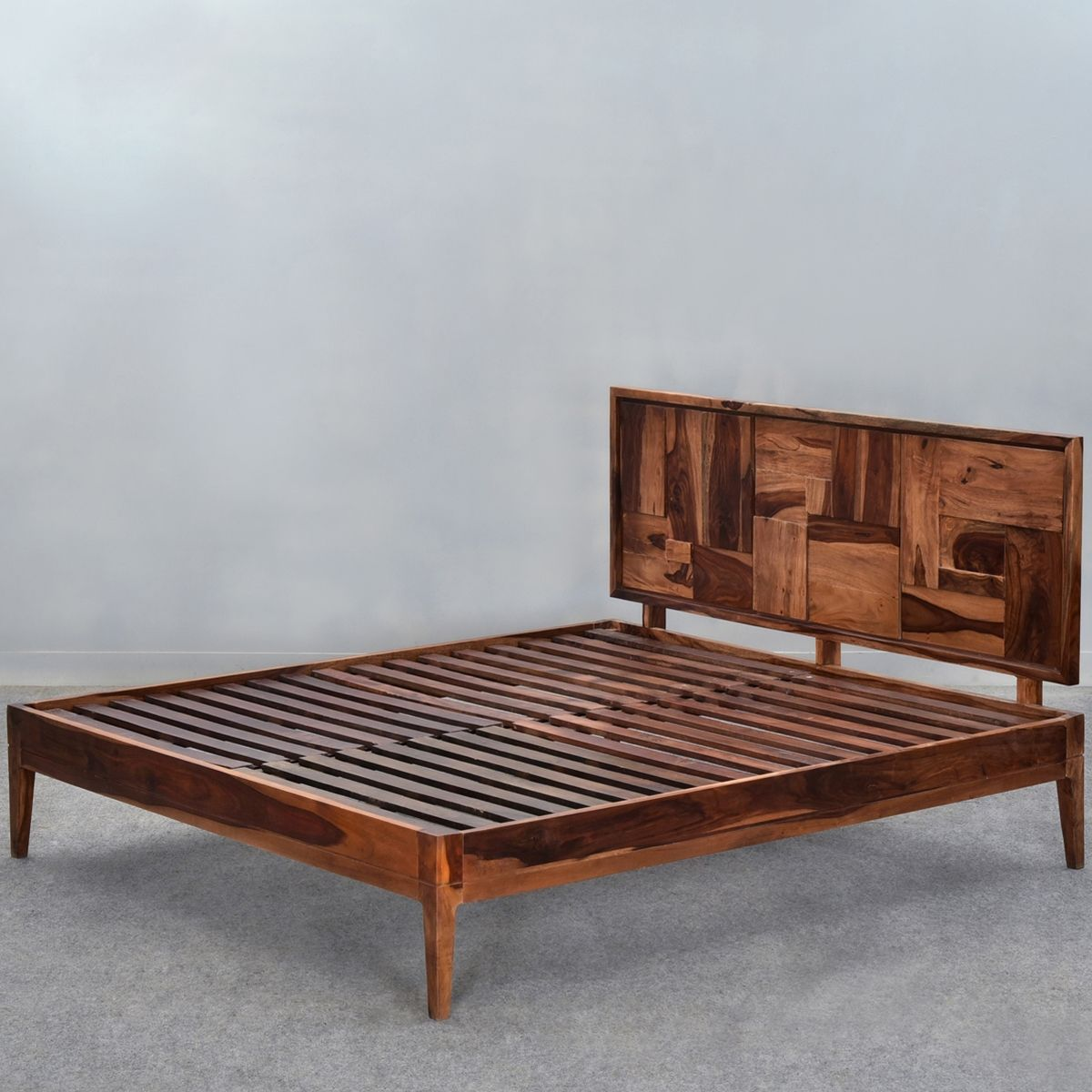 Sunrise Modern Pioneer Solid Wood Platform Bed Frame w Headboard