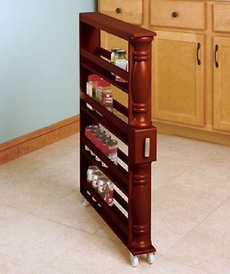 Kitchen Storage Rack Slim Tall Spice Canned Goods Rolling Space Saver Wooden New Kitchen Storage Rack Wooden Kitchen Storage Kitchen Storage