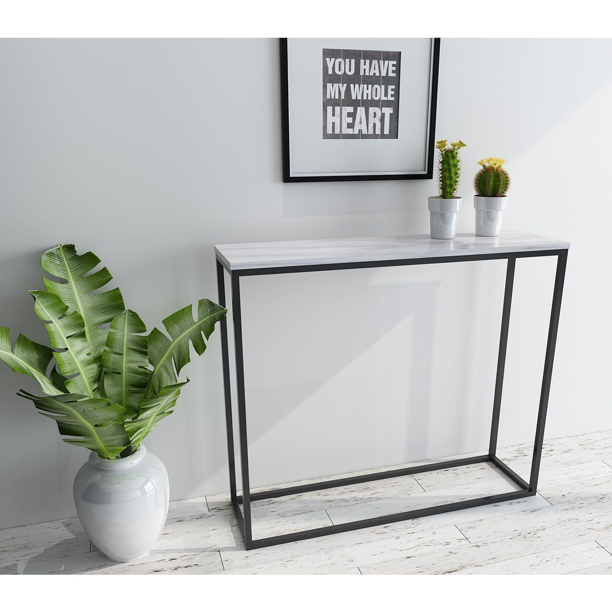Amazon Com Roomfitters Sofa Console Table Marble Print Top Metal Frame Accent White Narrow Foyer Hall Table Wh Marble Tables Design Hall Table Foyer Table Diy