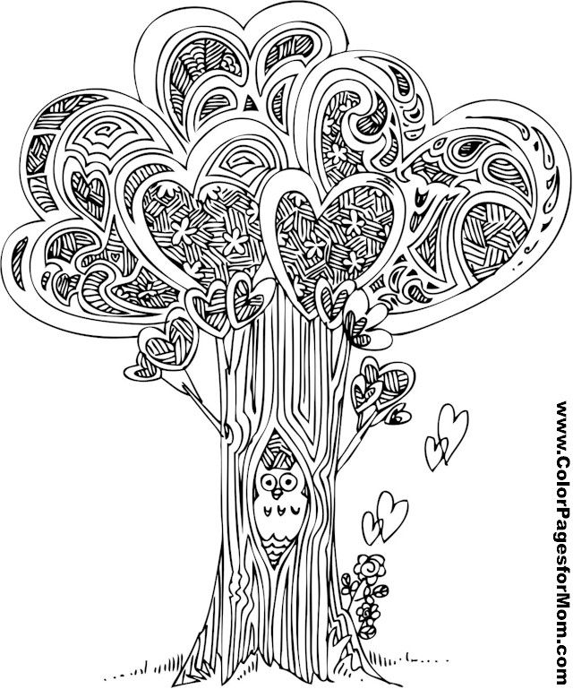 another free coloring page showing some tree love even the adorable little owl seems happy