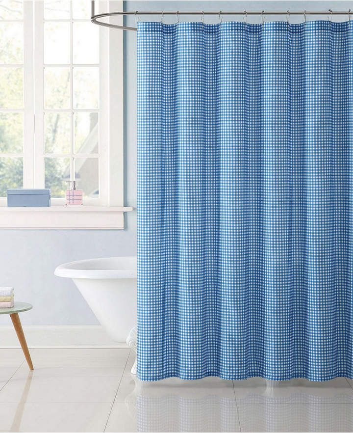 My World Gingham Shower Curtain Bedding Bathroom Colors Blue