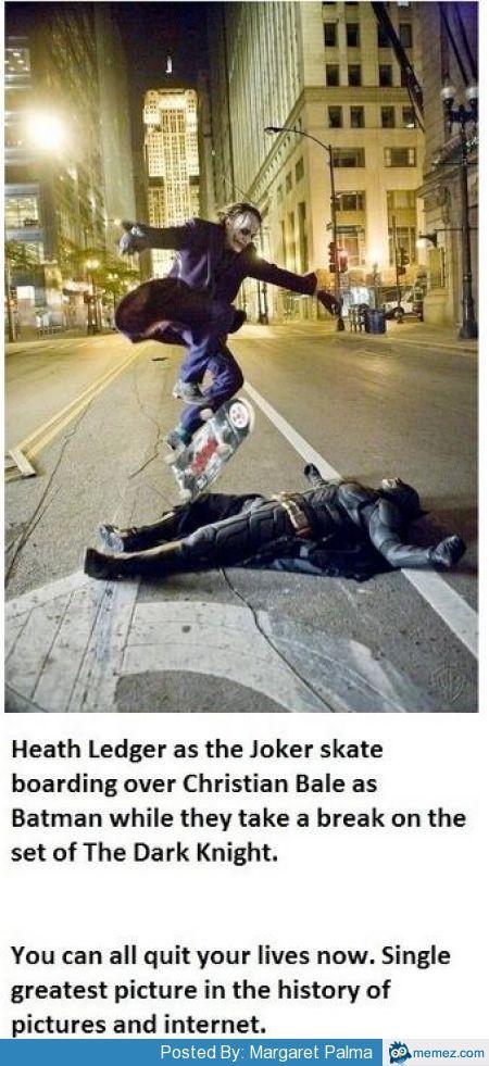 Heath Ledger skateboarding over Christian Bale | Memes.com