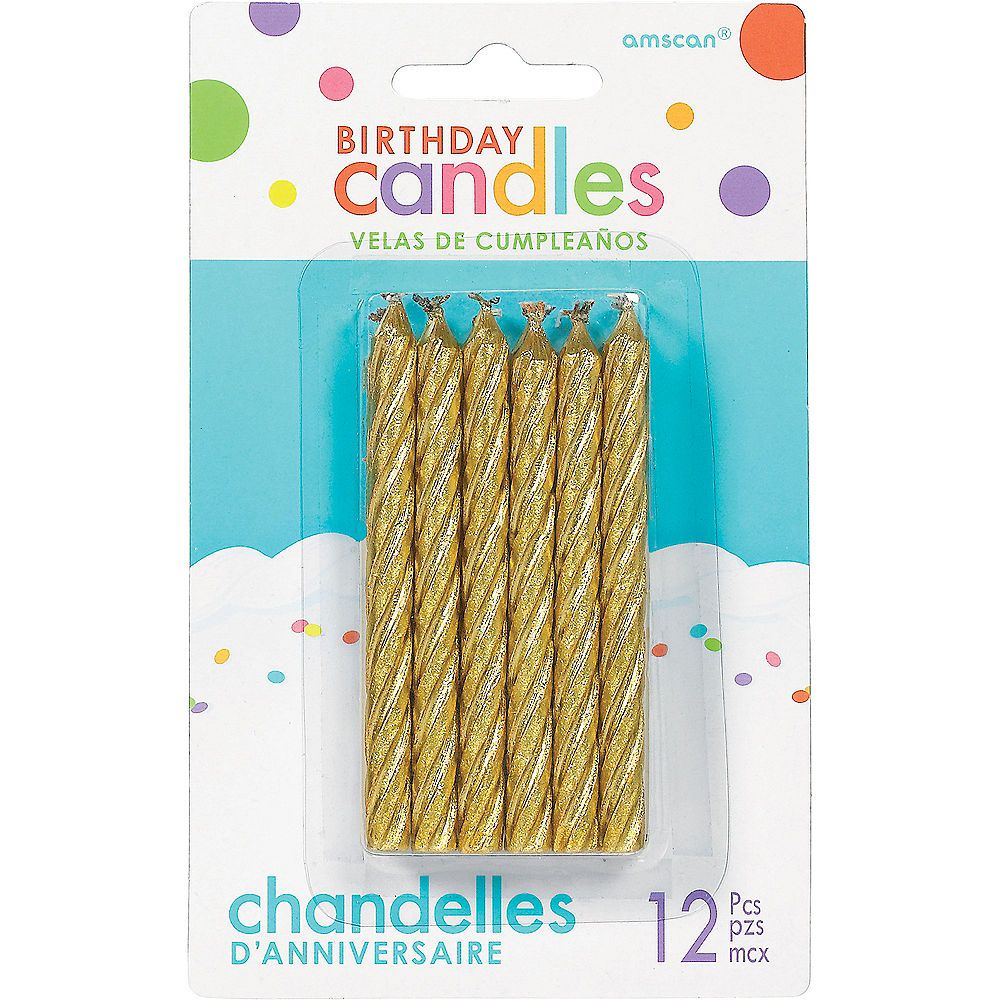 Gold spiral birthday candles 12ct birthday party