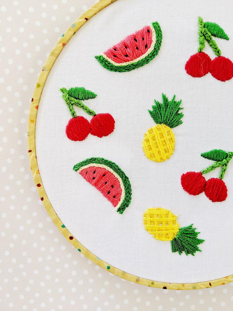 Hand Embroidery PDF Pattern. Fruit Salad Design Digital Download. Simple Easy Beginner Mixed Fruit Embroidery for DIY Kitchen Home Decor.