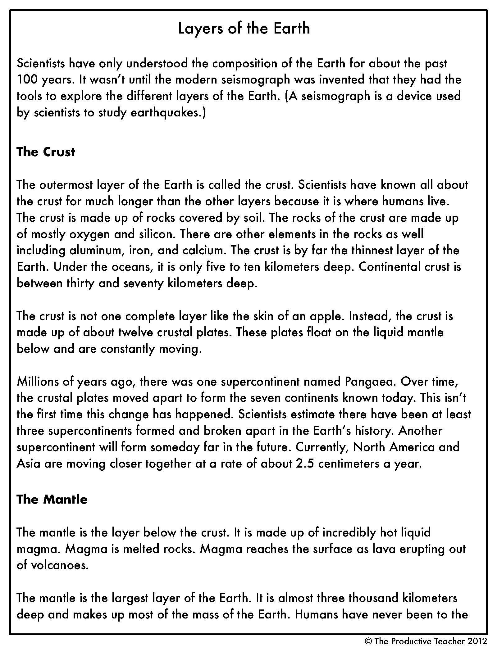 Layers Of The Earth Reading Passage Science Reading Passages Reading Passages Science Reading [ 2100 x 1600 Pixel ]