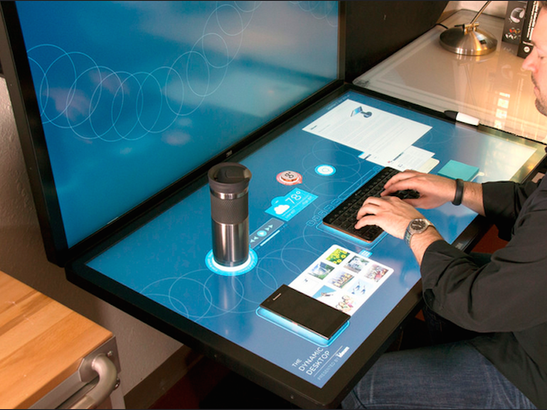 15 cool desks and workspaces that geeks will love - Page 2 - TechRepublic | Futuristic technology, Touch screen table, Touch technology