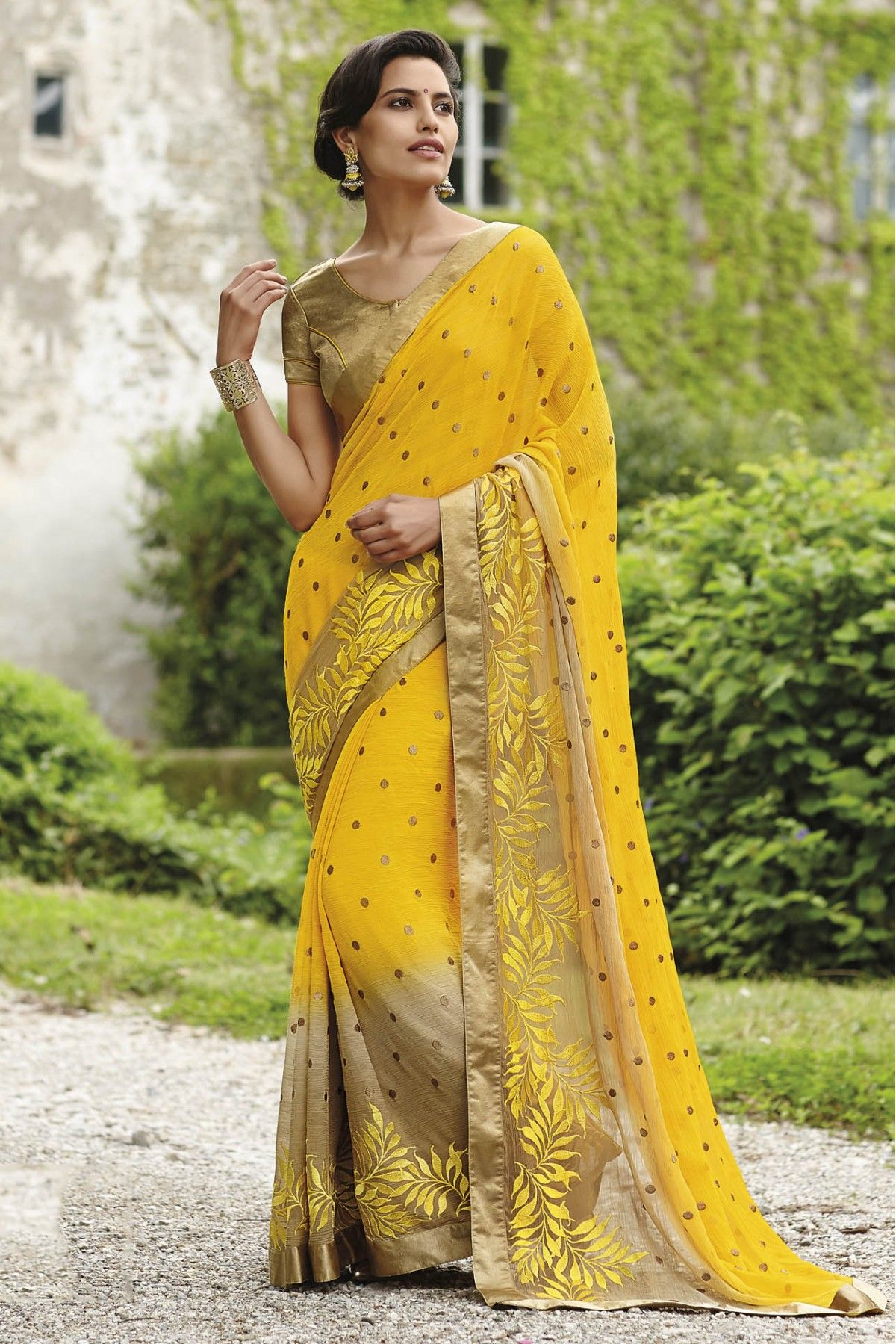 f50b9d762f Yellow Colour Designer Saree Comes With Pure Chiffon Fabric. Its an Party  wear saree Comes With Matching Blouse Which Can Be Stitched Up to Size 44.