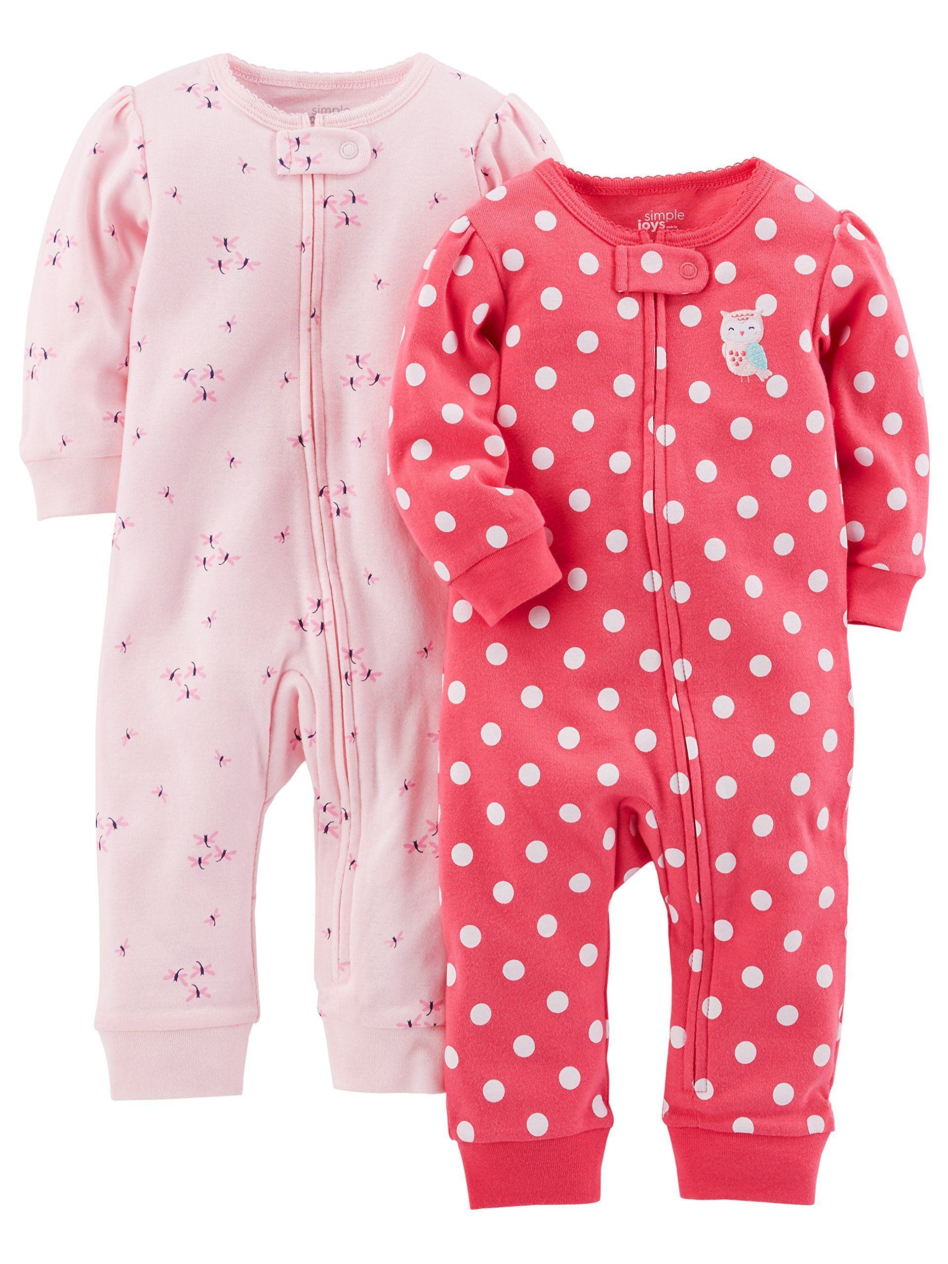 Simple Joys By Carter S Baby Girls 2 Pack Cotton Footless Sleep And Play Pink Dragonfly Dot Without Cuffs 0 3 Months Carters Baby Girl Baby Girl Pajamas Baby Clothes Online