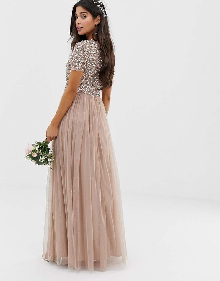 Maya Petite Bridesmaid V Neck Maxi Tulle Dress With Tonal Delicate Sequi Short Sleeve Bridesmaid Dress Embellished Bridesmaid Dress Stunning Bridesmaid Dresses