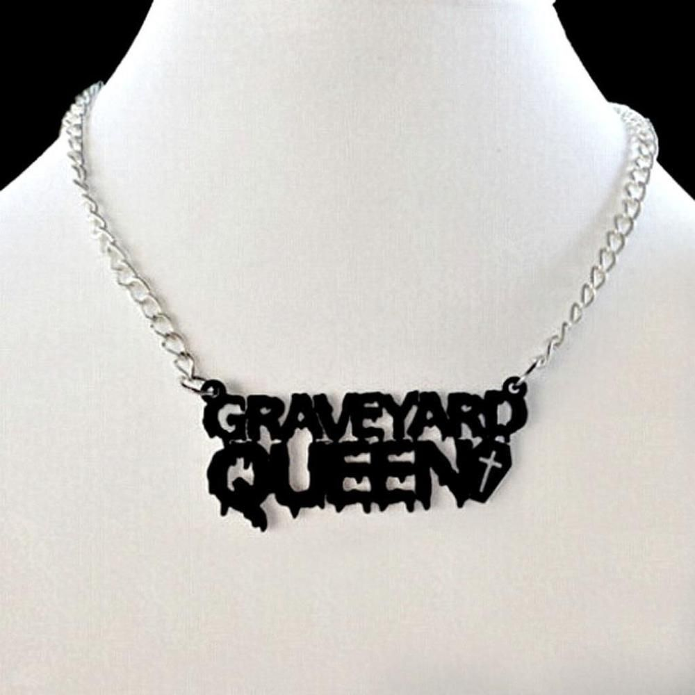 graveyard queen necklace 3 black acrylic pendant vampire graveyard queen necklace 3 black acrylic pendant vampire halloween costume goth aloadofball Gallery
