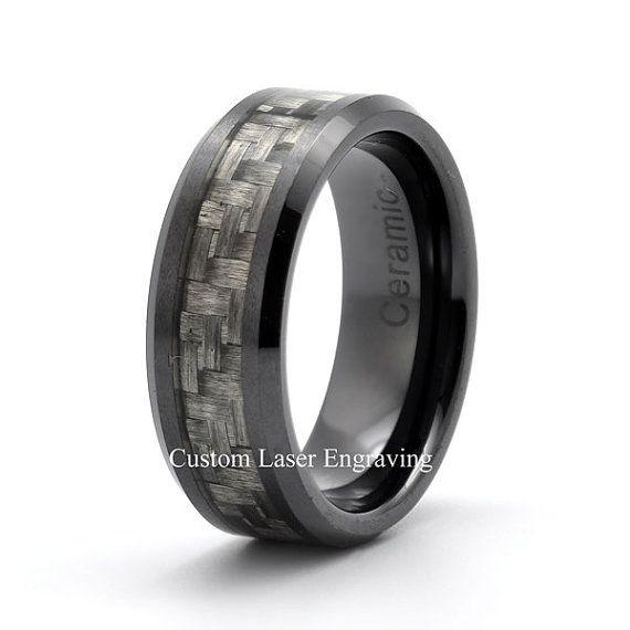 Black Ceramic Ring Mens Wedding Band Custom Rings Carbon Fiber Inlay Mat Brashed Polished Edge