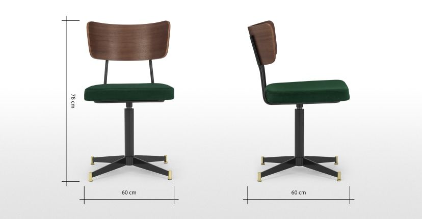 Amalyn Office Chair Pine Green Velvet Walnut In 2020 Office Chair Green Velvet Chair
